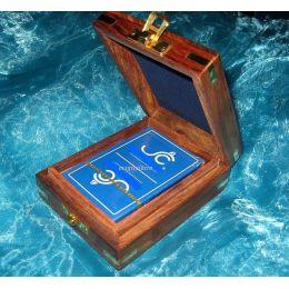**Kartenspiel in edler Holzbox mit Messingintarsien