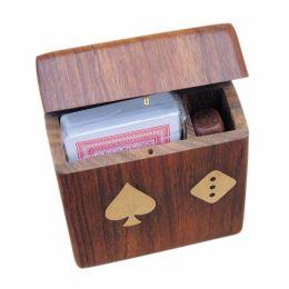 **Kartenspiel+ Würfel in edler Holzbox mit Klappdeckel und Messingintarsien