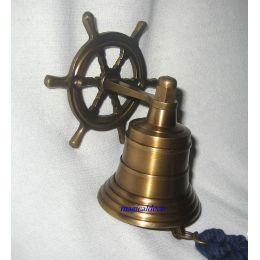 **Kleine Schiffsglocke mit Steuerradhalterung -brüniert-alt Messing-KEIN polieren
