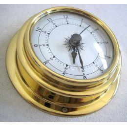 **Kleine, leichte Uhr in Bullaugenform aus Messing- Durchmesser 10 cm