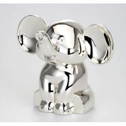 **Kleine, süße Spardose Elefant, versilbert und anlaufgeschützt