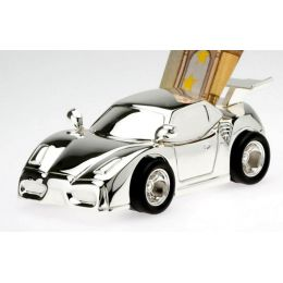 **Kleine, süße Spardose für den Motorsportfan, versilbert und anlaufgeschützt
