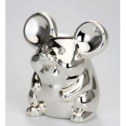 **Kleine, süße Spardose Maus, versilbert und anlaufgeschützt