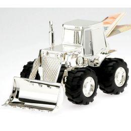 **Kleine, süße Spardose, versilbert und anlaufgeschützt- Traktor