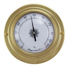 **Kleines, leichtes Hygrometer in Bullaugenform aus Messing- Durchmesser 10 cm