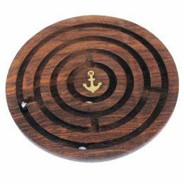 **Labyrinth- Spiel aus Holz und Messingintarsien- maritim- Ankermotiv- 15,5 cm