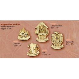 Magnet Pins aus Holz 4 Stück- Original Schwarzwald 6-9 cm