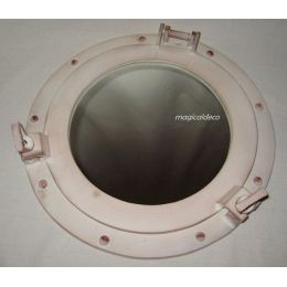 **Maritimer Bullaugenspiegel - Aluminium- Elfenbeinoptik - 28,5 cm