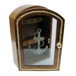 **Maritimer Schlüsselkasten mit Glasfront- Ankermotiv- Taueinlage Rahmen - Holz