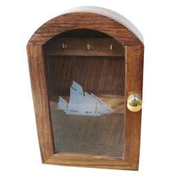**Maritimer Schlüsselkasten mit Glasfront- Schiffsmotiv- Rahmen - Holz
