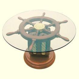 **Maritimer Tisch- Beistelltisch der besonderen Art- Holz und Glas ? 65cm