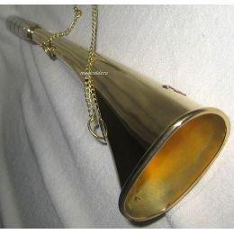 **Nebelhorn Fußballtröte Signalhorn- Messing- Mundstück versilbert- 14 cm