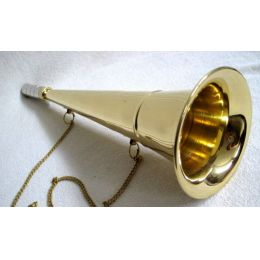 **Nebelhorn Fußballtröte Signalhorn- Messing- Mundstück versilbert- 33,5 cm