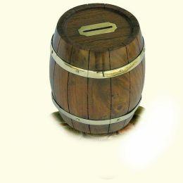 **Originelle Spardose- Holztonne- Messing und Holz- rustikal