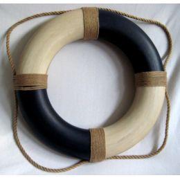 **Rettungsring blau/creme, Styropor bemalt, ? 36cm, Antikdesign
