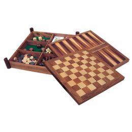 **Schach, Backgammon, Dame, Würfel, Karten & Tarot in Holzkasten