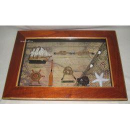Sehr dekorative Knotentafel + Schiffsmodell+anderen maritimen Accessoires 36 cm