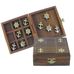 **Spiel -Anker & Steuerrad- 3 gewinnt- in Holzbox mit Messingintarsien- sehr edel