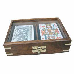 **Spielkartenbox mit Glasdeckel aus Holz+Messingintarsien incl.Kartenspiel doppelt