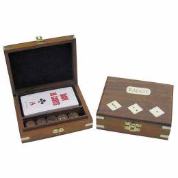**Tarot- Kartenspiel+ 5 Würfel in Holzbox mit Messingintarsien - sehr edel