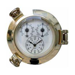 **Uhr, Thermo- & Hygrometer im Bullaugenform- Messing- - Durchmesser 14 cm