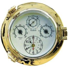 **Uhr, Thermo- & Hygrometer im Bullaugenform- Messing- - Durchmesser 22 cm