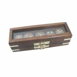 **Würfelbox mit Glasdeckel mit 5 Würfeln aus Holz+Messingintarsien- Messingnummern