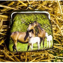 Clipgeldbörse Geldbeutel Portemonnaie Colorline Pferdefamilie