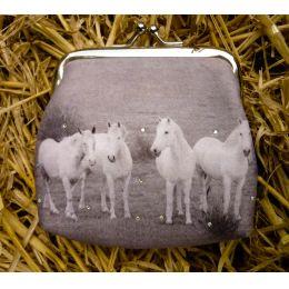 Clipgeldbörse Geldbeutel Portemonnaie Pferd Schimmelfamilie