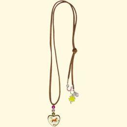 Pferdefreunde Halskette mit Holz-Anhänger