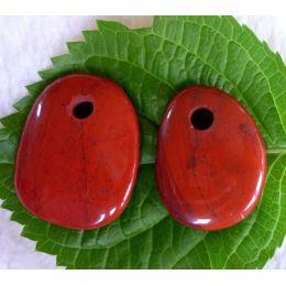 Anhänger Scheibenstein gebohrt Jaspis rot, klein