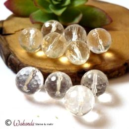 Bergkristall, Kugel gebohrt 12 mm facettiert, Stück