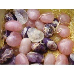 Herz Rosenquarz, Amethyst oder Bergkristall