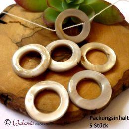 Perlmutt silbergrau (gef.) Kreis, 20 mm, 5 Stück
