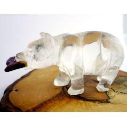 Tiergravur Bär Bergkristall mit Fisch