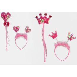 Haarreif und Zauberstab - rosa - im Beutel - 2 Varianten - ca. 41 x 20 cm