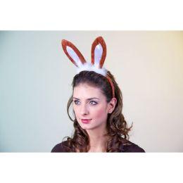 Hasenohren -  Osterhase Kopfbügel mit braunen Hasenohren - Ostern Karneval Fasching Mottoparty