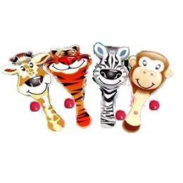 Holzschläger  - Giraffe - Zebra - Tiger - Affe - mit Ball - Paddelballspiel