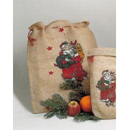 Jutesack natur - bedruckt mit Weihnachtsmotiv - Weihnachtsbeutel ca. 35 x 50 cm