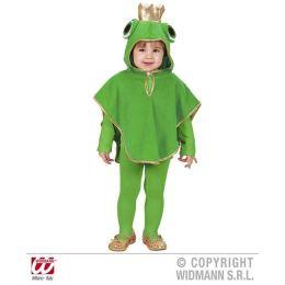 Kinderkostüm Frosch aus Plüsch - Poncho mit Kapuze - 110 cm
