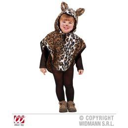 Kinderkostüm Leopard aus Plüsch - Poncho mit Kapuze - 110 cm