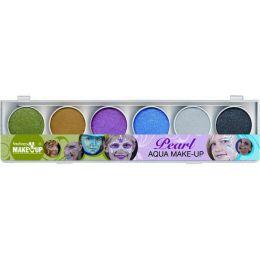 Make-up - Schminke - Fantasy Aqua Malkasten mit 6 Perlglanzfarben und Pinsel - wasserlöslich