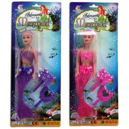 Puppe - Meerjungfrau mit Zubehör - lila oder pink - ca. 27 cm