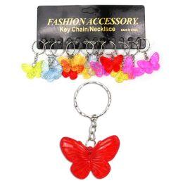 Schlüsselanhänger Schmetterling - transparente Farben - an Schlüsselkette