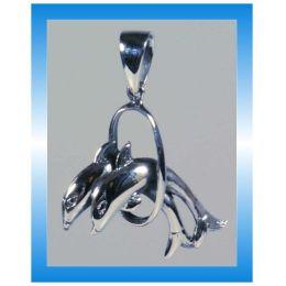 Schmuck - Kettenanhänger - Springende Delfine - Sterlingsilber - ca. 2,5 cm