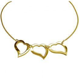 3-fach Herz Collier in 585 Gelbgold - 45 cm Halskette