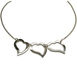 3-fach Herz Collier in 925 Silber - 45 cm Halskette