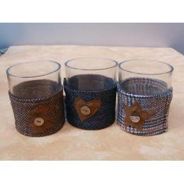 3 festliche Teelichtgläser mit Stoffbezug