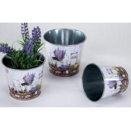 4er Set Blumenkübel aus Zinkmetall mit Lavendeldekor