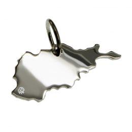 AFGHANISTAN Kettenanhänger aus 925 Silber mit Brillant am Wunschort